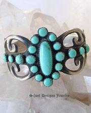 Albert J Brown Blue Turquoise & cast Sterling Silver braclet | Schaef Designs Southwestern Jewelry | San Diego CA