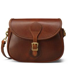 Brown Leather Shoulder Bag - Distressed Leather   J.W. Hulme Co.