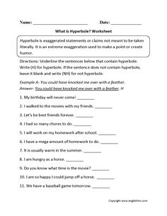 Hyperbole Worksheets