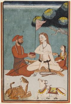 ca. 1711-25. Raja Sidh Sen of Mandi, a warrior king, Offers a Bowl of Bhang to the ascetic Lord Shiva to invoke the wild Bhairava, Himachal Pradesh, India.