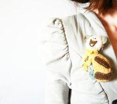 Teddy Bear Brooch Fiber Brooch Teddy Bear Brooch by CreaturesPretenders, $25.00 #teddybears #fiberbrooch #jewelry #teddylovers #cutebrooches #accessories