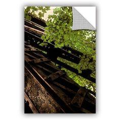 ArtWall Kevin Calkins Train Trestle in the Woods ArtAppealz Removable Wall Art, Size: 24 x 36, Green