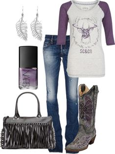 Faded Blue Jeans, Purple And White Deer Shirt, Gray Fray Purse, And Purple And Gray Cowboy Boots. Take out the purse and earings....... and then it would look better