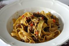 """""""Homemade tagliatelle with a true Bolognese ragù"""" - """"The Art of Making Homemade Pasta in Bologna"""" by Lauren Aloise on spanishsabores.com"""