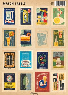 マッチ箱ラベル たべもの Vintage Packaging, Vintage Labels, Vintage Posters, Ticket Design, Label Design, Packaging Design, Retro Design, Design Art, Logo Design