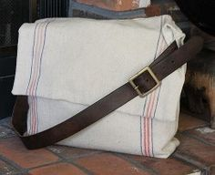 Feed Sack Messenger Bag I would make this out of old jeans or old leather jackets