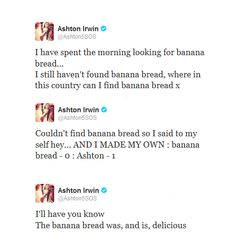 banana bread- 0 ashton- 1 I'm just gonna take a wild guess here that Ashton may have been the one who came up with the name #BANANASMOOTHIERECORDS but thats just a crazy guess!!