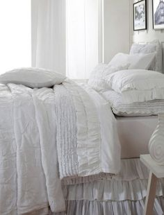 White bedding for the master bedroom! Asher Bedding from Amity Home