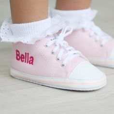 a807300eedb3 High Top Trainers - Pink Personalized Baby