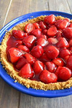 Fresh Strawberry Pie with Graham Cracker Crust!  YUM! So easy to make too!