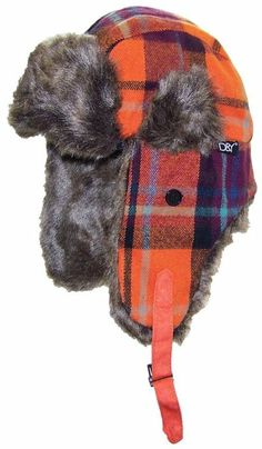 Amazon.com  David   Young Plaid Trooper Trapper Winter Hat w Softer Than  Mink Faux Fur (One Size) - Black Red  Clothing 8960ecda2897