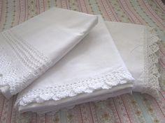 Shabby Vintage Crisp White Pillowcases
