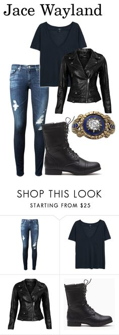 """""""Jace Wayland"""" by elizabethsthename ❤ liked on Polyvore featuring AG Adriano Goldschmied, MANGO and VIPARO"""