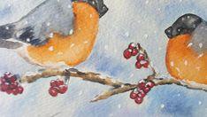 Deliziosi ciuffolotti - su un ramo sotto la neve - per chi ama queste scene romantiche Con un passpartout che richiami i colori del dipinto e una inquadratura a giorno o con cornice semplice, sarà un elegante complemento darredo in qualunque ambientazione. La pittrice, Teresalia,