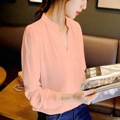 New Elegant Sexy V-neck Long Sleeve Shirts Women Chiffon Shirt Blouse Ladies White Pink Female Office Shirt Plus Size