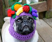 this etsy shop made my day. Custom knitted dog hats. Seen here - Carmen Miranda. Love it!