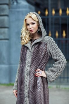 Your girlfriend is Russian or Ukrainian? Read how to build a happy family with her! Fur Fashion, Fashion Outfits, Womens Fashion, Kinds Of Clothes, Clothes For Women, Knitted Jackets Women, Knit Jacket, Winter Sweaters, Knitwear