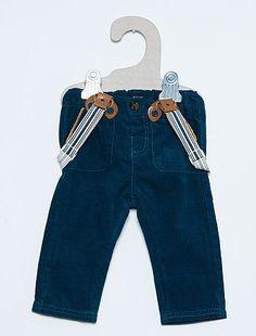 Pantalon à bretelles en velours côtelé                                         bleu Bébé garçon  - Kiabi