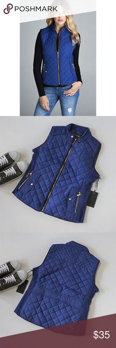 Quilted Padded Vest New S M L  Blue Quilted Padded Vest New S M L  Zip Pockets Lightweight  Features:  poly; poly lining vegan suede piping front zip pockets side ribbing that stretches for a perfect fit hand wash  Measurements, laying flat (in inches):  Bust:       18 S, 19 M, 20 L  Waist:      16, 17, 18  Length:    22, 23, 23 Jackets & Coats Vests