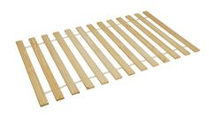 Twin size bunkie boards bed slat under mattress slat rails bare wood with fabric connections.  Measures 39