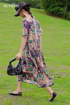 Funky Fashion, Boho Fashion, Vintage Fashion, Fashion Outfits, Vintage Style, Boho Chic, Frock For Women, Mode Outfits, Cotton Dresses