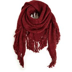 Daria Fringe Knit Shawl Scarf ($50) ❤ liked on Polyvore featuring accessories, scarves, red, red shawl, red scarves, knit shawl, fringed shawls and knit scarves