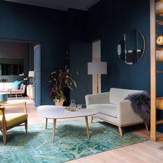 un salon bleu au style vintage - Salon Bleu Vintage