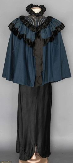 dark blue wool 1890's short evening cape | Augusta Auctions