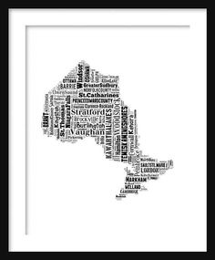 Ontario Canada Map Typography Map 11 x 14 Poster Print Text Map