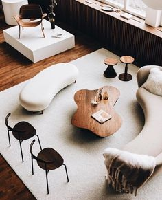 How beautiful are the lines, shapes, colours and material of this furniture? Loft Interior, Boutique Interior Design, Interior Architecture, Living Room With Fireplace, Living Room Decor, Living Rooms, Hippie Stil, Brick And Wood, Contemporary Interior Design