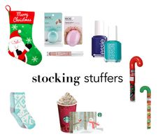 """Stocking stuffers"" by maggie111k ❤ liked on Polyvore featuring beauty, Eos, Essie, Free Press and Victoria's Secret"