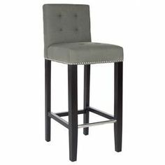 "Barstool with a button-tufted seat and nailhead trim.       Product: Barstool      Construction Material: Alderwood and plywoodColor: Gray and espresso      Features:Button-tufting Nailhead trim    Dimensions: 40.6"" H x 20.1"" W x 16.7"" D    Cleaning and Care: Professional cleaning recommended"