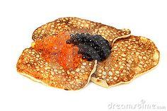 Salmon  and beluga caviar with russian pancakes