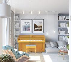 Esse apê me deu vontade de sacar uns pinceis e rever meu décor.               Reparem nos azulejos...         Fofa essa pia. E, o armário c...