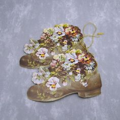 Victorian Ornament Shoe Flowers Vintage Reproduction by HoliDaisy, $4.00