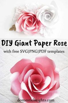 Giant Paper Rose Template and Tutorial - DOMESTIC HEIGHTS Giant paper flowers diy, giant paper flower tutorial, large paper flower template for cricut, paper flower backdrop, giant paper flower template printable free