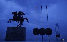 A modern bronze statue of Alexander the Great on his famous horse Bucephalus, in Thessaloniki, Greece Greek History, Ancient History, Battle Of Issus, Michael Scott, Alexander The Great, World War One, Thessaloniki, Macedonia, Ancient Greece