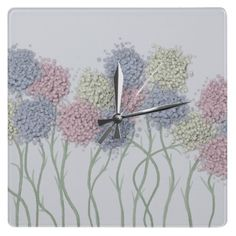 Pastel Cotton Ball Flower Scene Clock.  $24.95