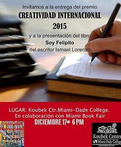 #PremioLiterario #CreatividadInternacional entregado el 17/12/15 #KoubekCenter #MiamiDade : http://www.creatividadinternacional.com/profiles/blogs/primera-edicion-del-i-concurso-literario-creatividad-internaciona