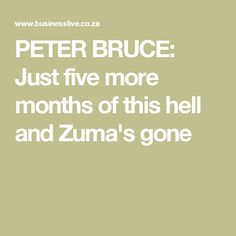 PETER BRUCE: Just five more months of this hell and Zuma's gone