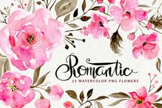 Romantic watercolor flowers by WatercolorS on @creativemarket
