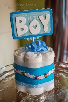 Items similar to Baby Shower Centerpiece - Baby Boy Diaper Cake - Baby Shower Decoration - Baby Shower Gift - It's a Boy - Baby Cakes - Baby Boy Shower Decor on Etsy Boy Baby Shower Themes, Baby Shower Activities, Baby Boy Shower, Baby Shower Gifts, Diaper Cake Centerpieces, Baby Shower Centerpieces, Baby Shower Decorations, Baby Shower Diapers, Baby Shower Cakes