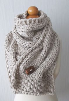 Chunky Scarf Handknit Big Cowl Extra Thick Cabled Soft in Natural White Beige Angora Merino Wool Kid mohair Chunky Scarves, Cowl Scarf, White Beige, Bead Crochet, Crochet Scarves, Knit Patterns, Hand Knitting, Knitwear, My Style