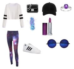 Galaxy Black by domingamiaw on Polyvore featuring polyvore fashion style adidas MICHAEL Michael Kors rag & bone Maybelline In Your Dreams clothing