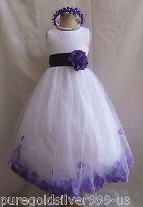 White Black Orange Yellow Blue Purple Rose Petal Pageant Gown Flower Girl Dress | eBay