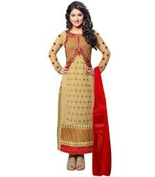 Buy Beige georgette embroidered semi stitiched salwar with dupatta party-wear-salwar-kameez online