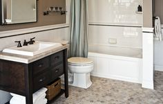 Possibly refinish yellow tile, add trim to top? Bathroom Cost, Laundry Room Bathroom, Tiny Bathrooms, Bathroom Tile Designs, Bathroom Renos, Basement Bathroom, Small Bathroom, Master Bathrooms, Black White Bathrooms