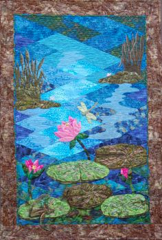 """This is my first """"Pieced"""" quilt called """"By the Pale Moonlight""""  little did I know Jan Krentz diamond technique was not  the best choice for my first adventure at piecing."""