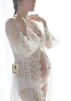 White Lace Long Night Gown Cardigan Floral Lace Bridal Robe Long Sleeves Pajamas *** Check this awesome product by going to the link at the image.