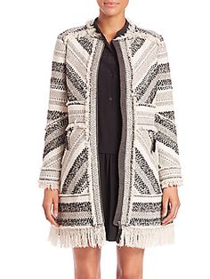 Rebecca Taylor Artisan Fringe-Trim Tweed Coat